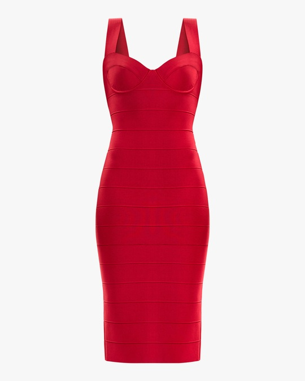 Herve Leger Sweetheart Midi Dress 0