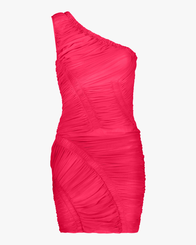 Herve Leger One-Shoulder Draped Mini Dress 0