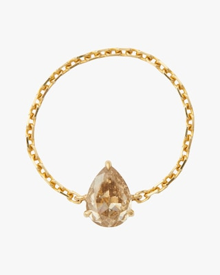 Yi Collection One-of-a-Kind Cognac Pear-Shaped Diamond Chain Ring 2