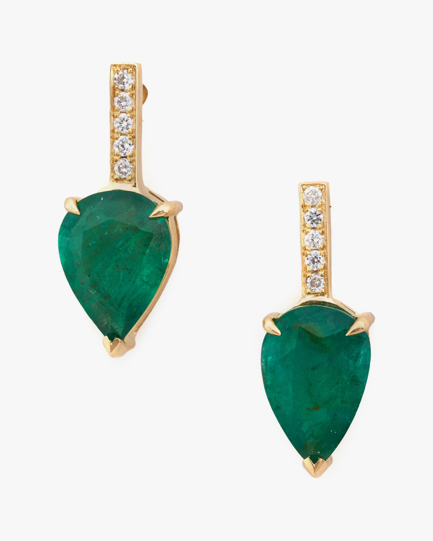 Yi Collection Emerald Dewdrop & Diamond Earrings 2