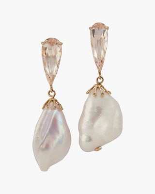Yi Collection One-of-a-Kind Morganite & Baroque Pearl Earrings 2