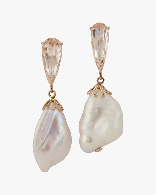 Yi Collection One-of-a-Kind Morganite & Baroque Pearl Earrings 0