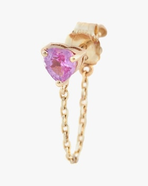 Single Pink Sapphire Heart Chain Earring