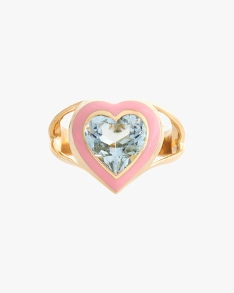 Yi Collection Aquamarine & Enamel Love Ring 2