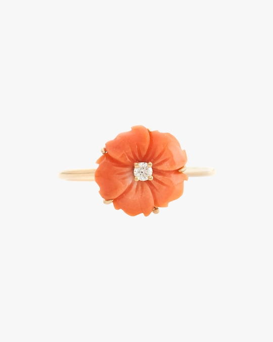 Yi Collection Coral & Diamond Flora Ring 0