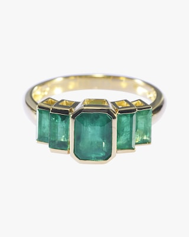 Yi Collection Emerald Tonal Deco Ring 2
