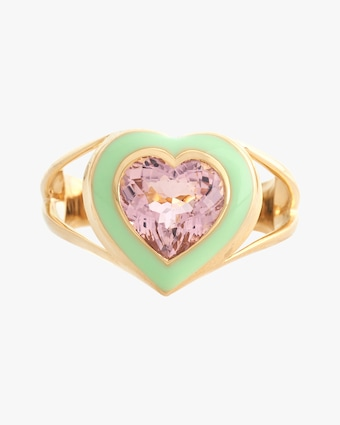 Yi Collection Pink Tourmaline & Enamel Love Ring 2