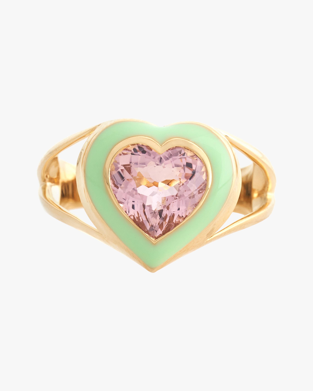 Yi Collection Pink Tourmaline & Enamel Love Ring 0