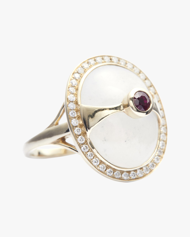 Yi Collection White Jade & Diamond Eos Ring 0