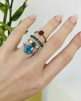 Yi Collection One-of-a-Kind Zircon & Pink Sapphire Ocean Ring 2
