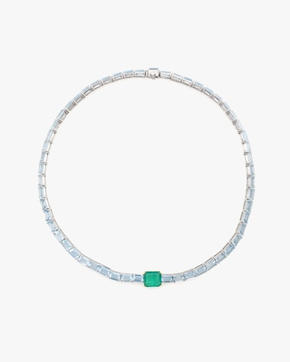 Yi Collection One-of-a-Kind Aquamarine & Emerald Demeter Necklace 2