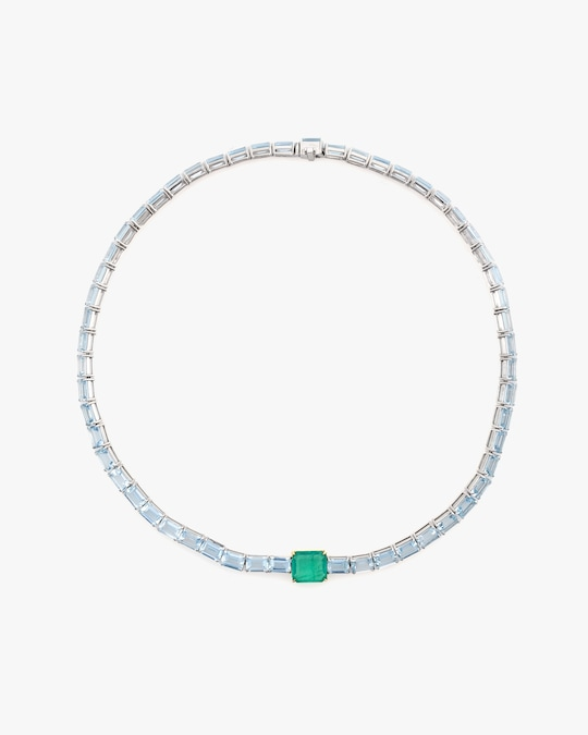 Yi Collection One-of-a-Kind Aquamarine & Emerald Demeter Necklace 0