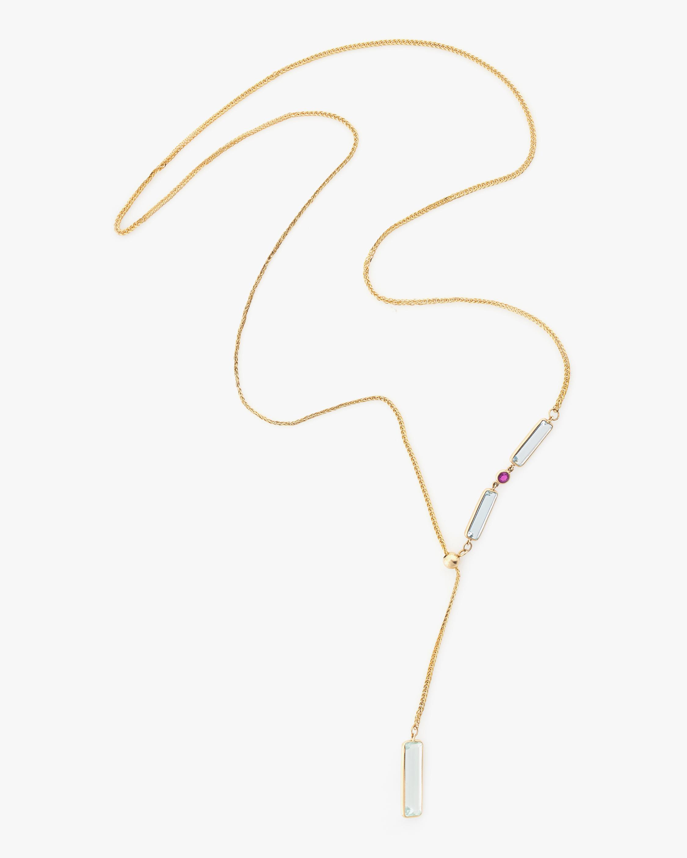 Yi Collection Aquamarine & Ruby Laso Lariat Necklace 0