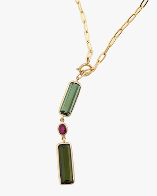 Yi Collection Tourmaline & Ruby Paperclip Lariat Necklace 2