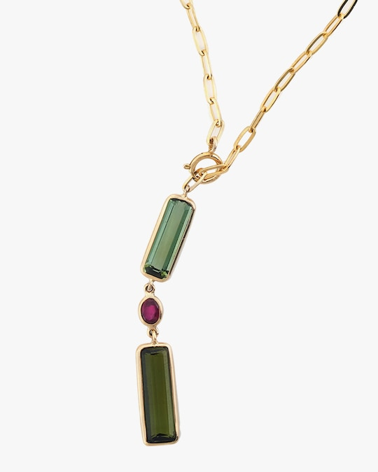Yi Collection Tourmaline & Ruby Paperclip Lariat Necklace 1