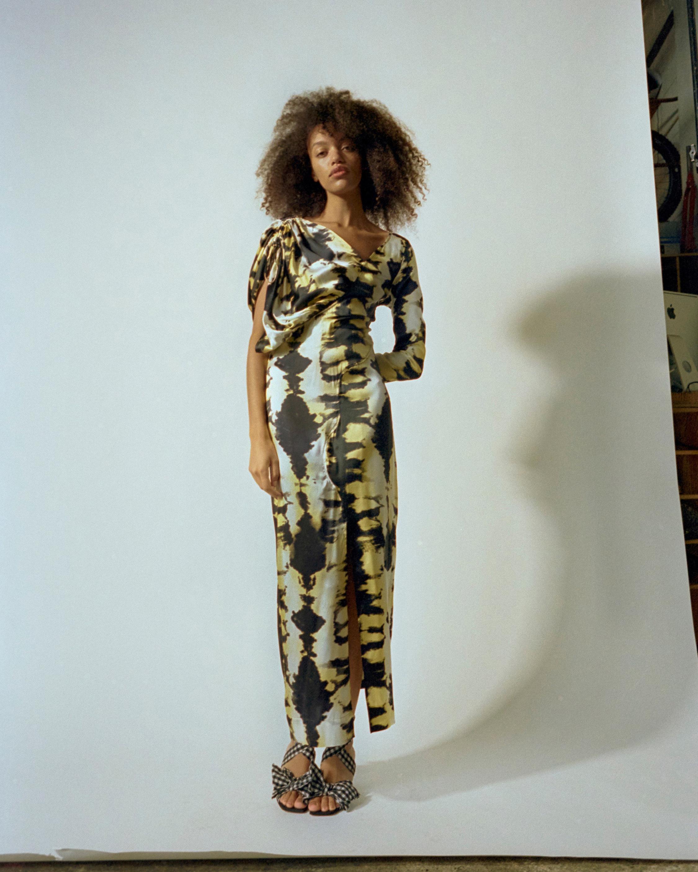 Ganni Asymmetrical-Sleeve Dress 1
