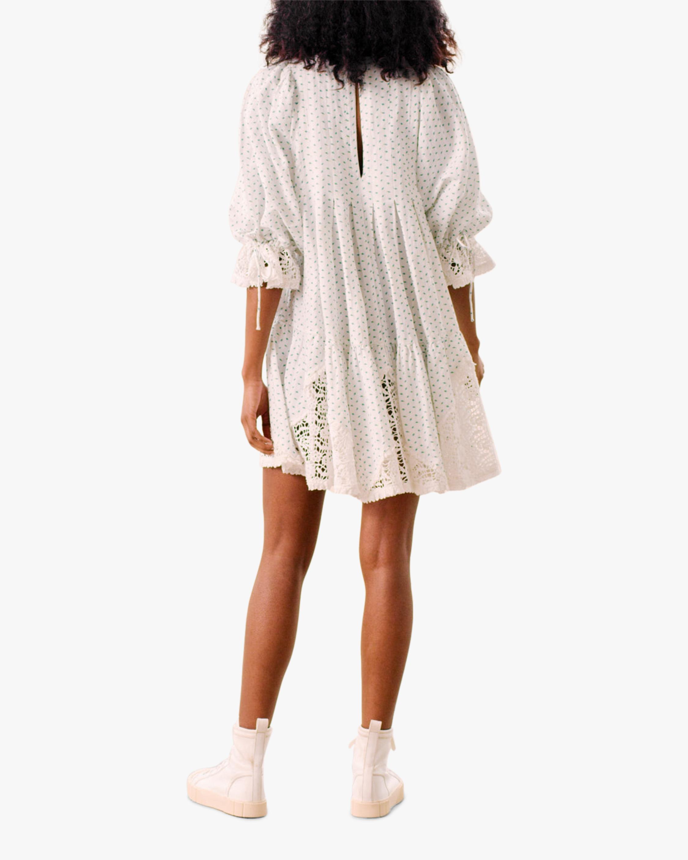 Puffed-Sleeve Mini Dress