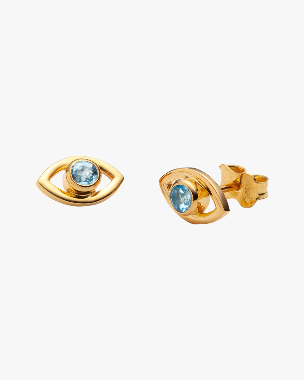 With Love Darling Blue Topaz Eye Stud Earrings 1