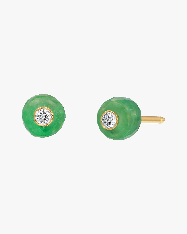 Nina Runsdorf Carved Emerald Bead Stud Earrings 0