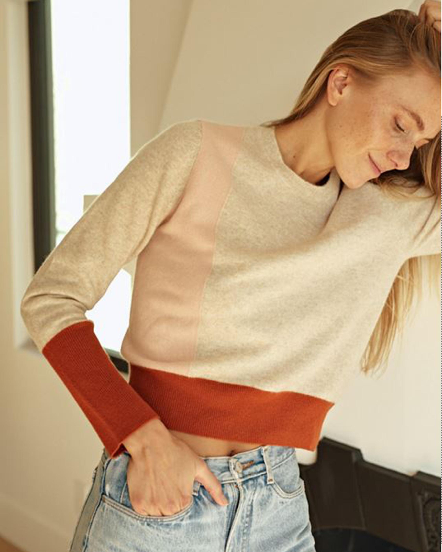 Naadam Colorblock Crewneck Cashmere Sweater 1