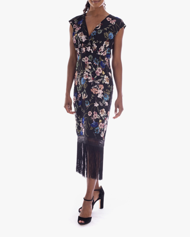 Badgley Mischka Floral Fringe Dress 1