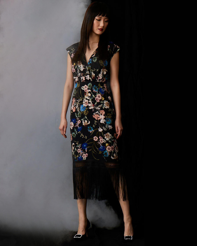 Badgley Mischka Floral Fringe Dress 2