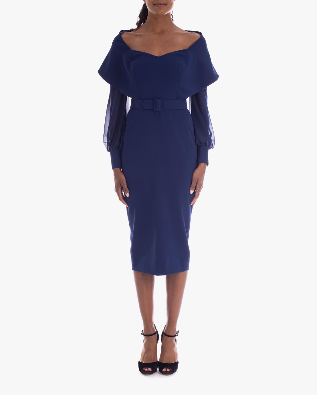 Badgley Mischka Stretch Crepe Wrap Cocktail Dress 0