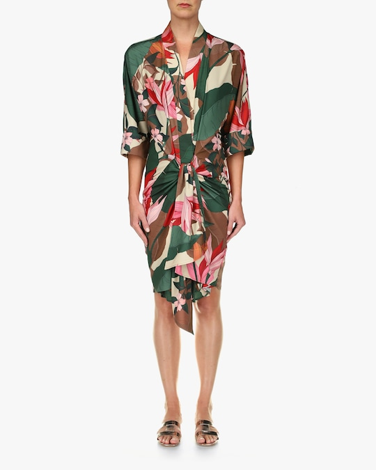 One33 Social Floral Front-Tie Shirt Dress 0