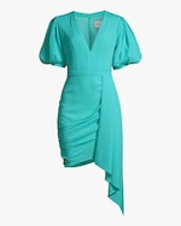 One33 Social Puffed-Sleee Draped Mini Dress 0