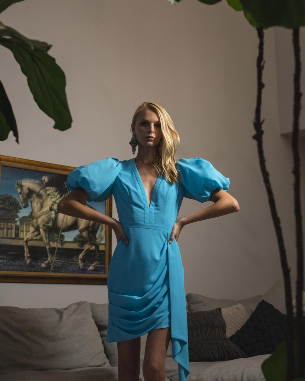 One33 Social Puffed-Sleee Draped Mini Dress 2