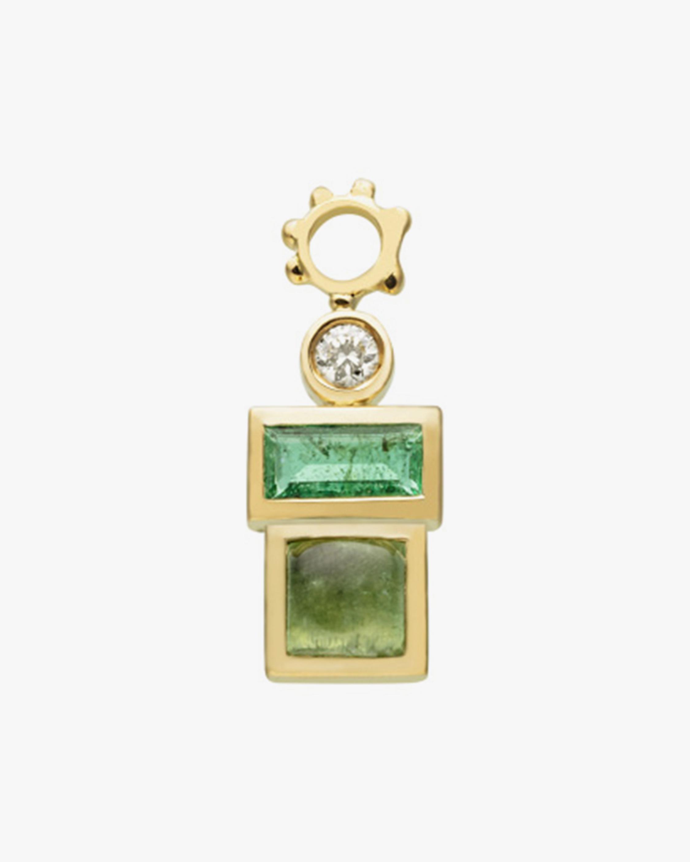 Gaya Single Emerald, Green Tourmaline & Diamond Hoop Charm 1