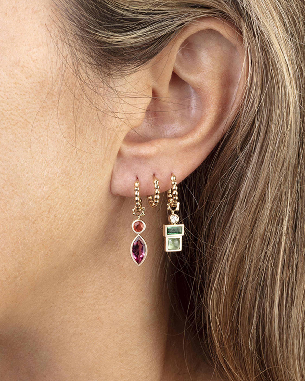 Gaya Single Emerald, Green Tourmaline & Diamond Hoop Charm 2