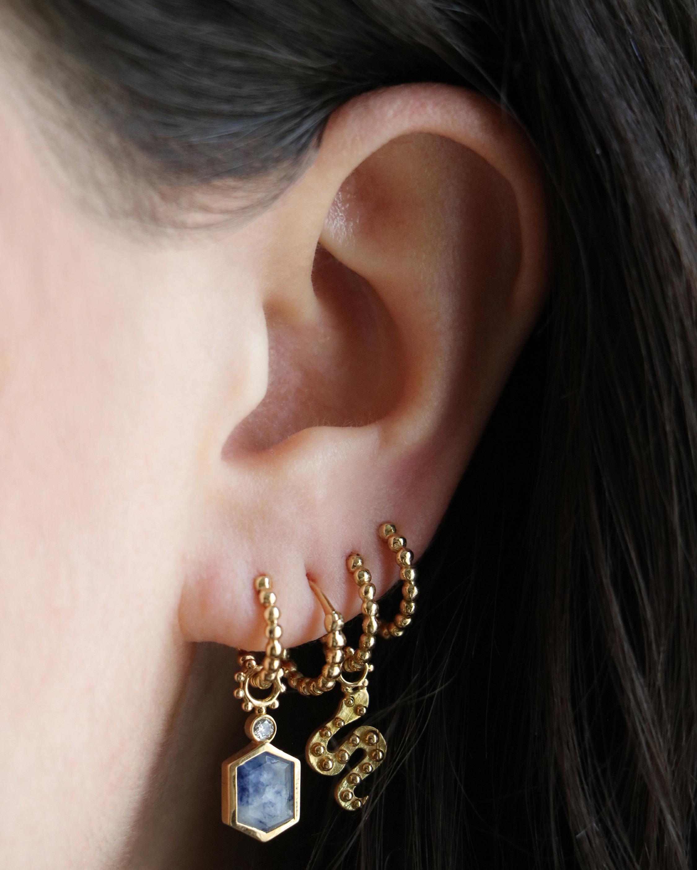 Gaya Single Sapphire & Diamond Hoop Charm 2