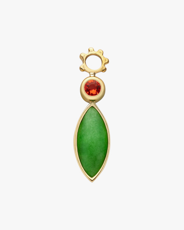 Gaya Single Jade & Fire Opal Hoop Charm 0
