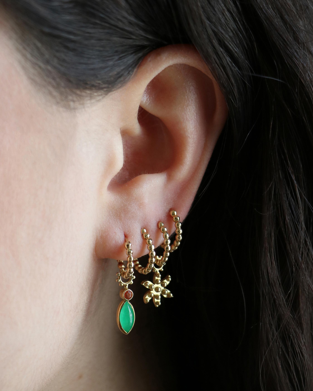 Gaya Single Jade & Fire Opal Hoop Charm 2
