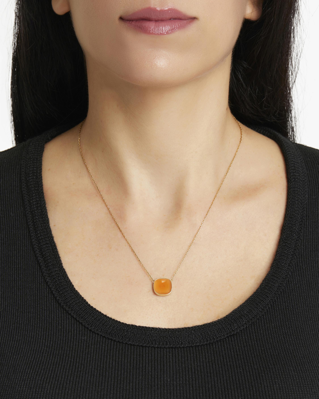Juliette Du Jacob Orange Chalcedony Pendant Necklace 1