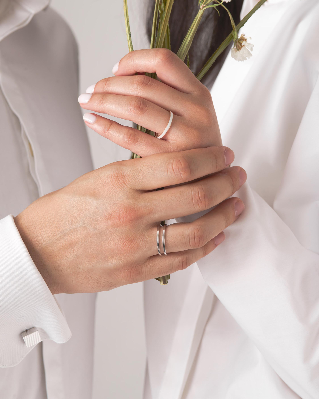 Marie Mas Unisex 18k White Gold U Ring 3