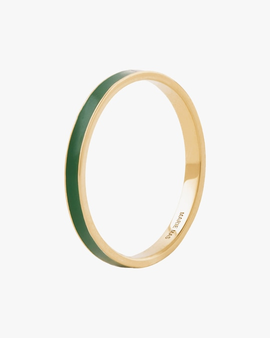 Marie Mas Unisex 18k Yellow Gold & Green Lacquer I Ring 0