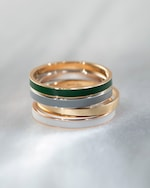 Marie Mas Unisex 18k Yellow Gold & Green Lacquer I Ring 2