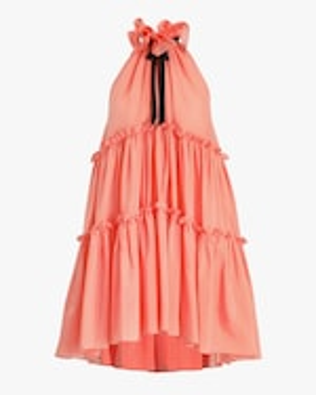 Prabal Gurung Ruffle-Tier Halter Mini Dress 0