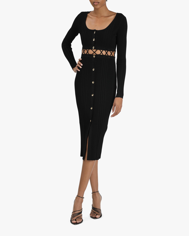 Prabal Gurung Lace-Up Ribbed Dress 0