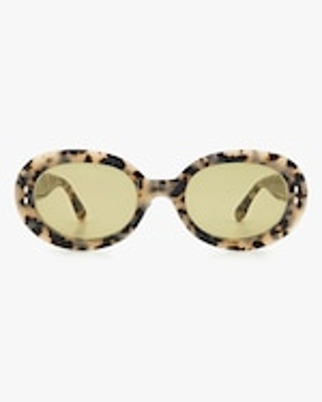 Isabel Marant White Havana Oval Sunglasses 0
