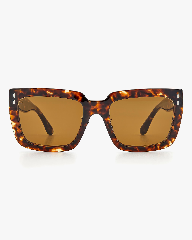 Isabel Marant Dark Havana Rectangle Sunglasses 0