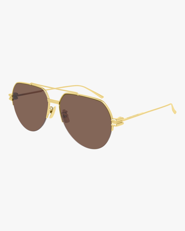 Bottega Veneta Gold Aviator Sunglasses 2