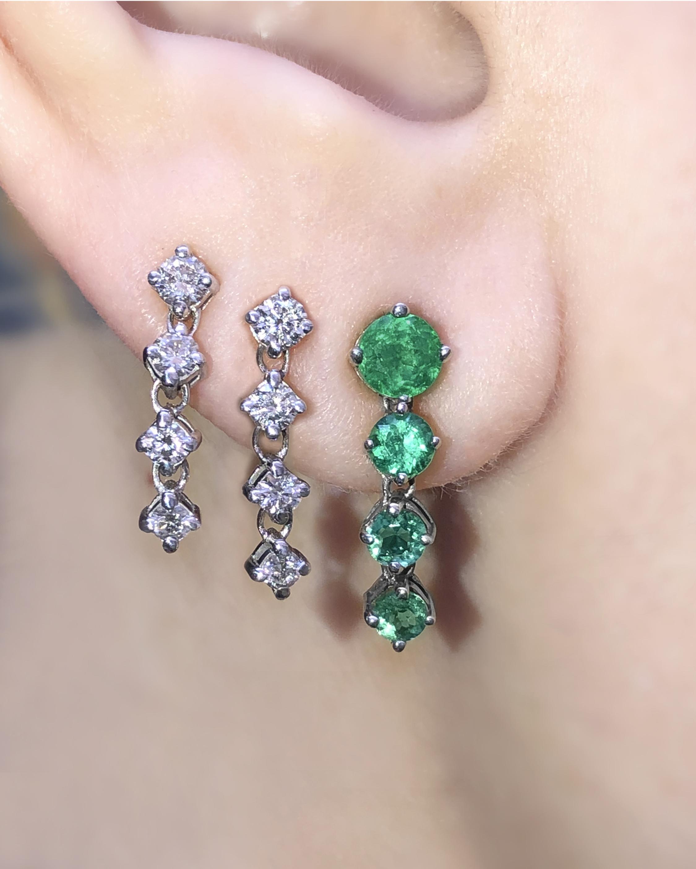 Chérut Chained Ombré Emerald Earrings 2