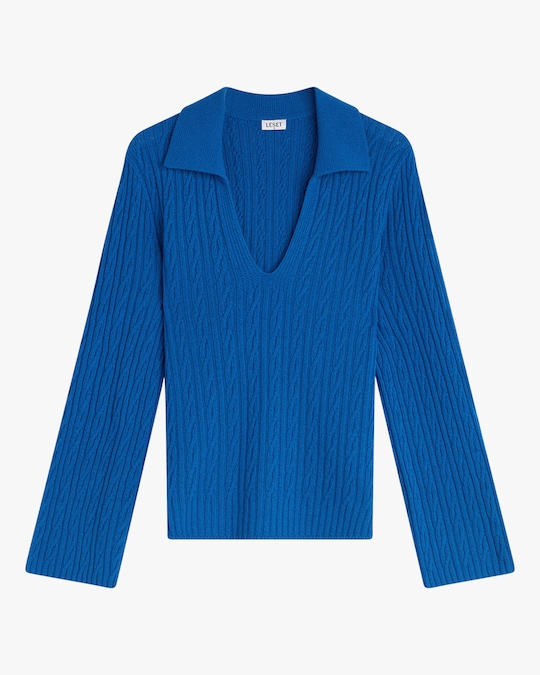 Leset Zoe Cable V-Neck Pullover 0