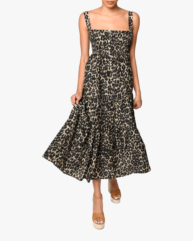 Nicole Miller Cheetah Smocked Midi Dress 1