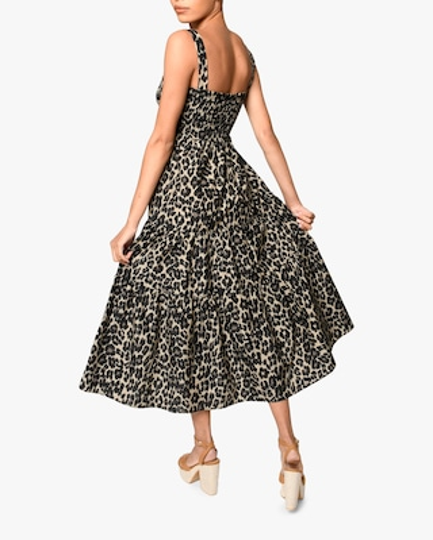 Nicole Miller Cheetah Smocked Midi Dress 2
