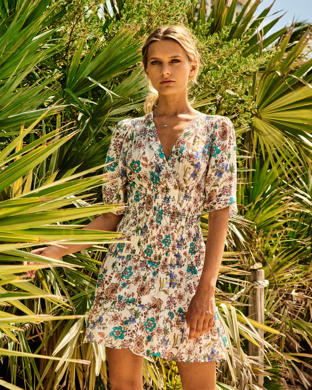 Nicole Miller Jasmine Floral Smocked Mini Dress 3