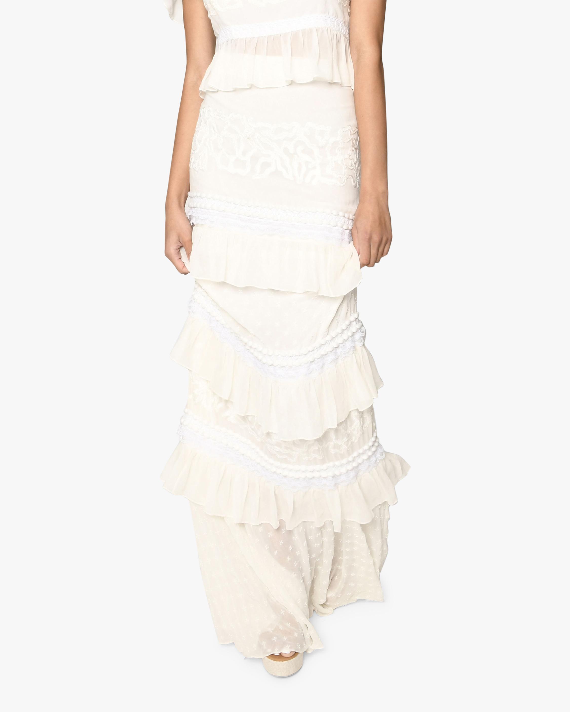 Nicole Miller Embroidered Silk Maxi Skirt 0